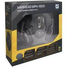 Игровой набор Defender Warhead MPH-1500 мышь+гарнитура+коврик